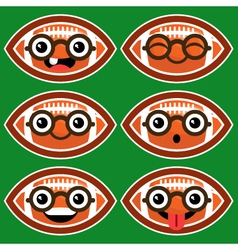 Cartoon American Footballs with Eyeglasses vector