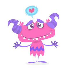 cartoon purple cute and cool monster vector image