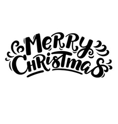 cartoon style funny merry christmas lettering vector image