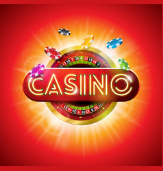 casino with shiny neon light letter vector image