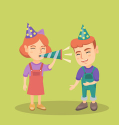 children celebrating birthday with a party pipe vector image