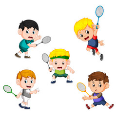 collection of badminton children player vector image