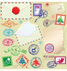 Collection of Christmas stamps envelops labels vector