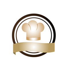 Color circular emblem with chef hat vector