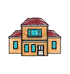 Color crayon stripe cartoon facade two house vector