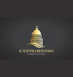 Congress gold capitol icon deisgn vector