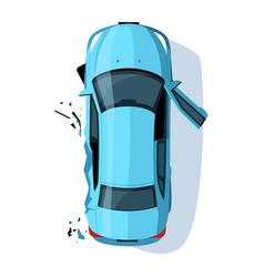 Crashed auto side semi flat rgb color vector