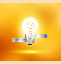 creative light bulb idea with 2021 new year vector image