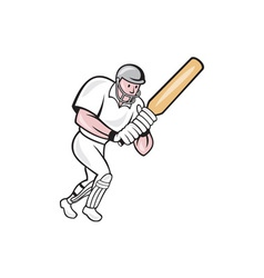 Cricket Player Batsman Batting Cartoon vector
