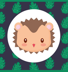 Cute animals and tropical leaves design vector