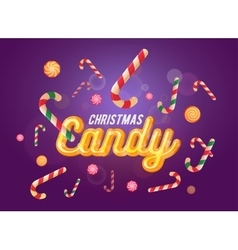 Cute christmas candy font and sweets set on the vector