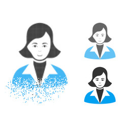 disappearing pixel halftone lady icon with face vector image