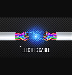 disconnect electric cable copper wire vector image