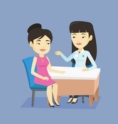 doctor consulting female patient in office vector image