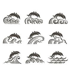 Dolphin emblem set vector