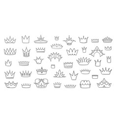 doodle crowns hand drawn king and queen symbols vector image