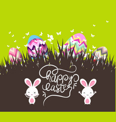 Easter eggs and bunny with grass vector