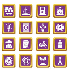 ecology icons set purple square vector image