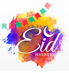 Eid mubarak card with watercolor grunge effect vector