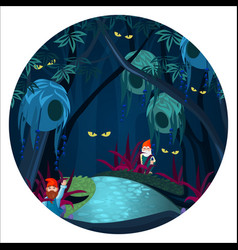 Enchanted forest with mysterious creatures ghosts vector