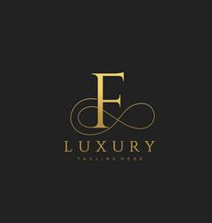 f luxury letter logo design vector image