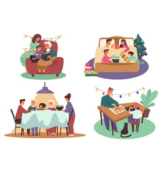 family christmas activity winter holidays vector image