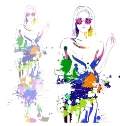 fashion look girl with color splashes vector image