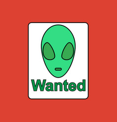 Flat icon design collection wanted alien vector