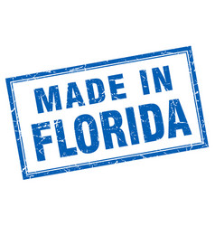 Florida blue square grunge made in stamp vector