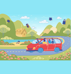 friends having fun in car driving on country road vector image