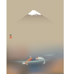 Fuji and Koi carps vector image