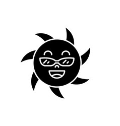 funny sun in glasses black icon sign on vector image