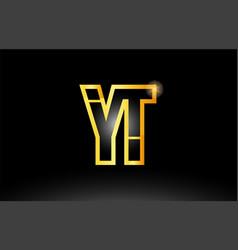 Gold black alphabet letter yt y t logo vector