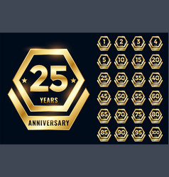Golden anniversary label emblem set vector