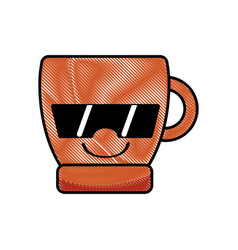grated happy coffee cup kawaii with sunglasses vector image