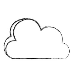 grunge nice cloud nature weather icon vector image