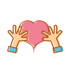 hands with heart to love symbol vector image
