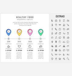 healthy food infographic template elements icons vector image