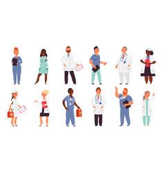 hospital team medical men doctor nurse group vector image