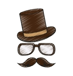 Isolated hipster hat glasses and mustache vector