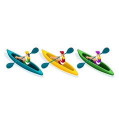 isometry set of girls in canoe kayaks sports vector image