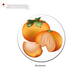 Kaki or japanese persimmon popular fruit in japan vector