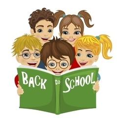 kids reading green book with back to school text vector image