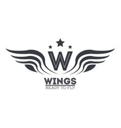 luxury wings emblem vector image