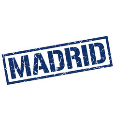 Madrid blue square stamp vector