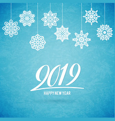 merry christmas and happy new year 2019 card with vector image