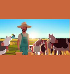 Milkman holding buckets with fresh milk farmer vector