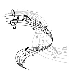 music poster or notes staff icon vector image