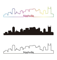Nashville skyline linear style with rainbow vector image