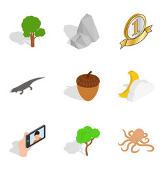 nature preserve icons set isometric style vector image